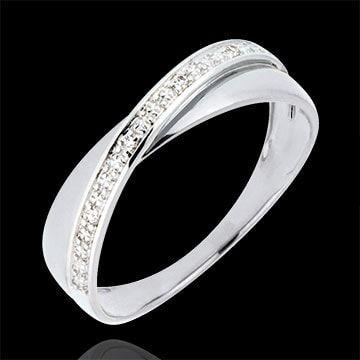 femme Alliance Saturne Duo - diamants - or blanc - 9 carats