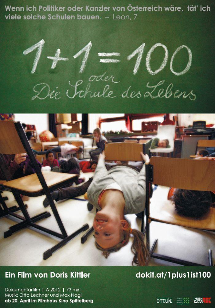 """""""1+1=100 oder Die Schule des Lebens"""" Directora: Doris Kittler, (Austria 2012). Tema: Documental sobre l'aprenentatge col·laboratiu, la inclusió i l'ensenyament no directiu. El documental es realitza a una escola pública de la perifèria de Viena."""