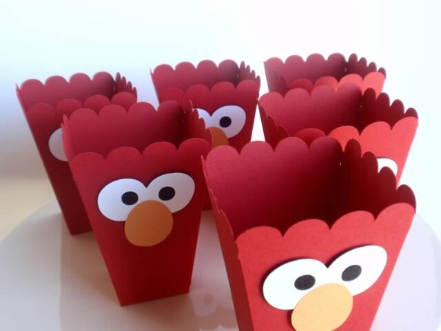 Elmo popcorn boxes.  Great for party favors or fill with popcorn/snack mix