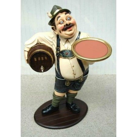 3 Beer Waiter Statue Wooden Keg German Waiter W Tray