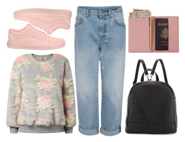 """airplane clothes"" by teresapulido ❤ liked on Polyvore featuring Jumpo, Alexander McQueen, Vans, Poverty Flats and Royce Leather"