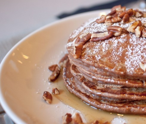 Pecan Wheat Pancakes With Maple Bourbon Strawberries Recipe ...