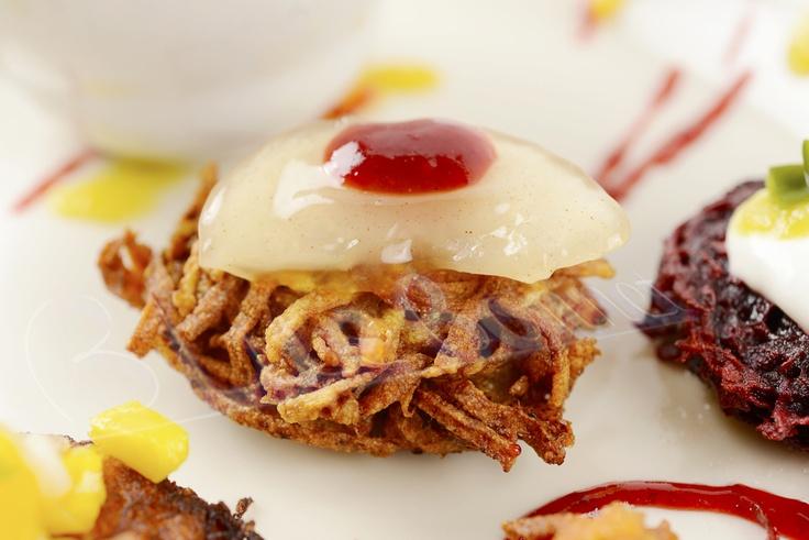 Pure deliciousness -- sweet potato latke with smoked poblano applesauce and raspberry habanero jam