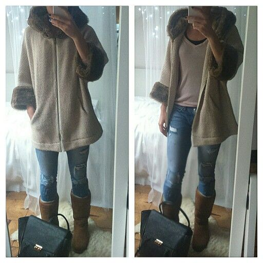Ripped jeans, ugg shoes, ugg boots, zara coat, wintet outfit, winter style
