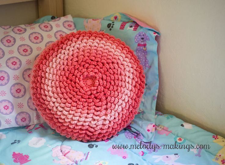 Netherlee Flower Pillow - Free Crochet Pattern.  This pretty pillow is fun to work up and is the perfect project for gradient yarns.