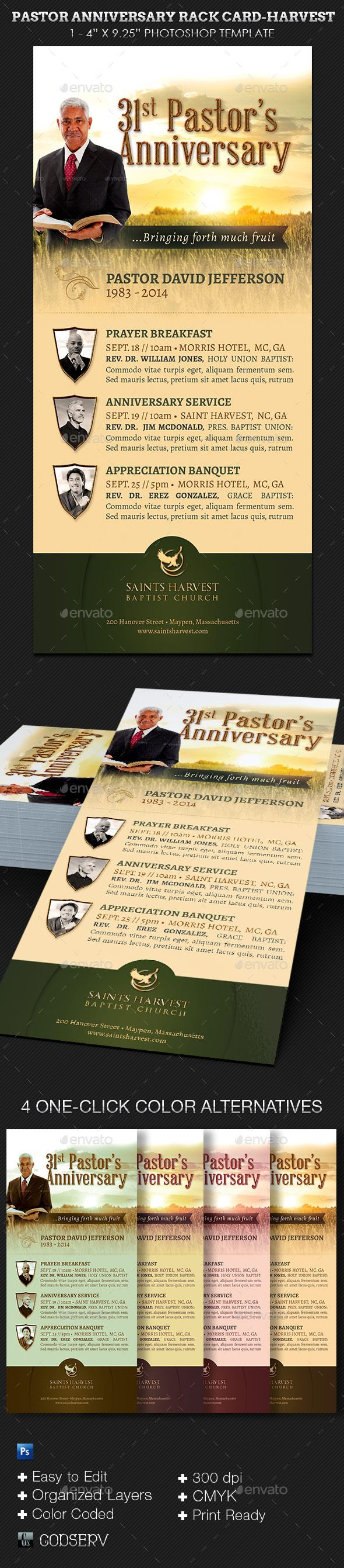 Pastor Anniversary Harvest Rack Card Template — Photoshop PSD #rack card #godserv • Available here → https://graphicriver.net/item/pastor-anniversary-harvest-rack-card-template/8846350?ref=pxcr