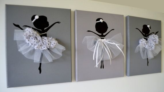 Dancing Ballerinas Wall Art. Set of three dancing by FlorasShop, $42.00