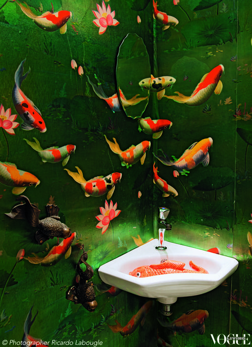 'Koi Polloi', Vogue Living March 2013. Amsterdam bathroom simulates the canal outlook of the 19th-century building in which it's located, to Japonisme-meets-surrealism effect.  Photo by Ricardo Labougle.