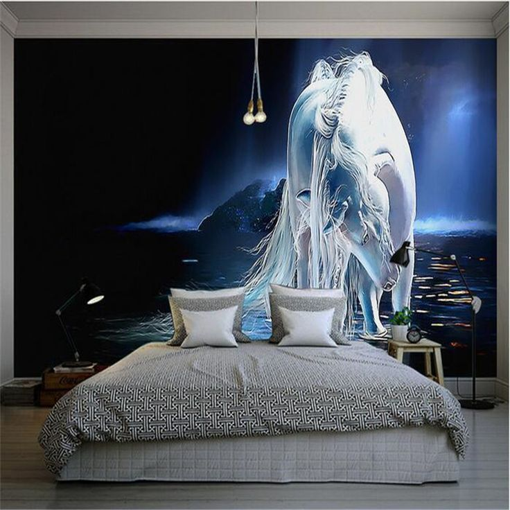 Custom Silk Photo Wallpaper HD Art Blue Romantic Horse