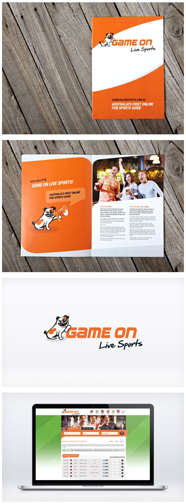 #GameOn Live Sports was a new business launching an app for sports fans to find licenced venues showing their favourite game. What they needed was an iconic brand and marketing look to engage fans in this vibrant market. Liquid created a strong brand featuring a memorable brand hero and striking orange and black template. Helping the owner with a launch strategy and promotional material, Liquid injected fun and freshness into this online start-up.