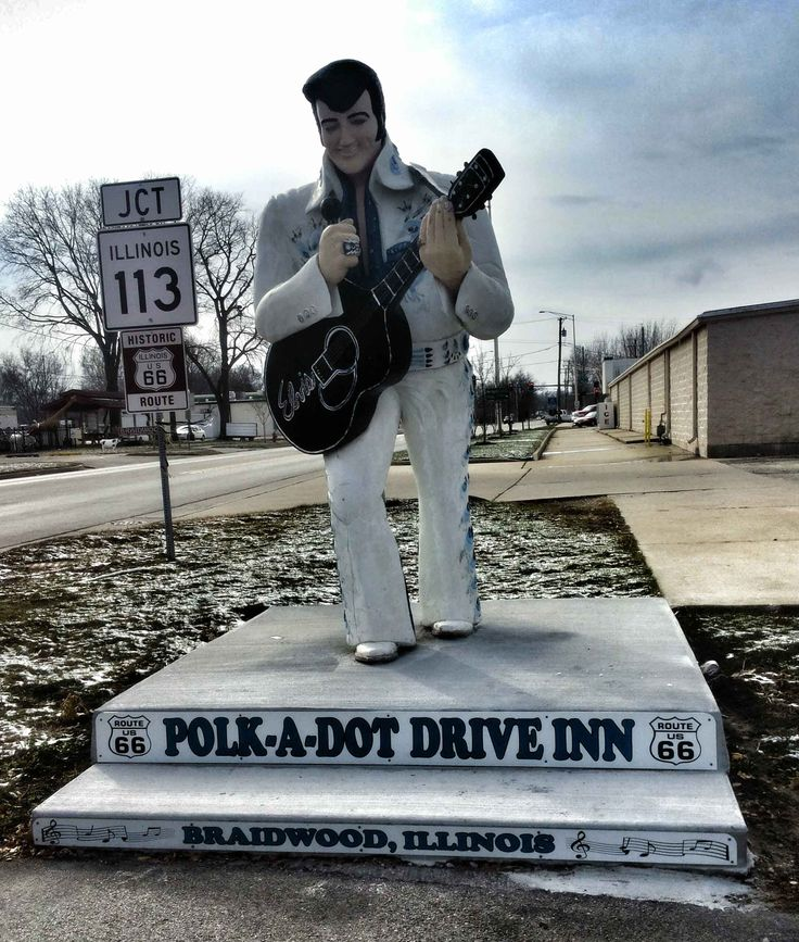 Elvis statue in front of Polk-a-Dot Drive Inn in Braidwood, Illinois. On the historic Route 66.