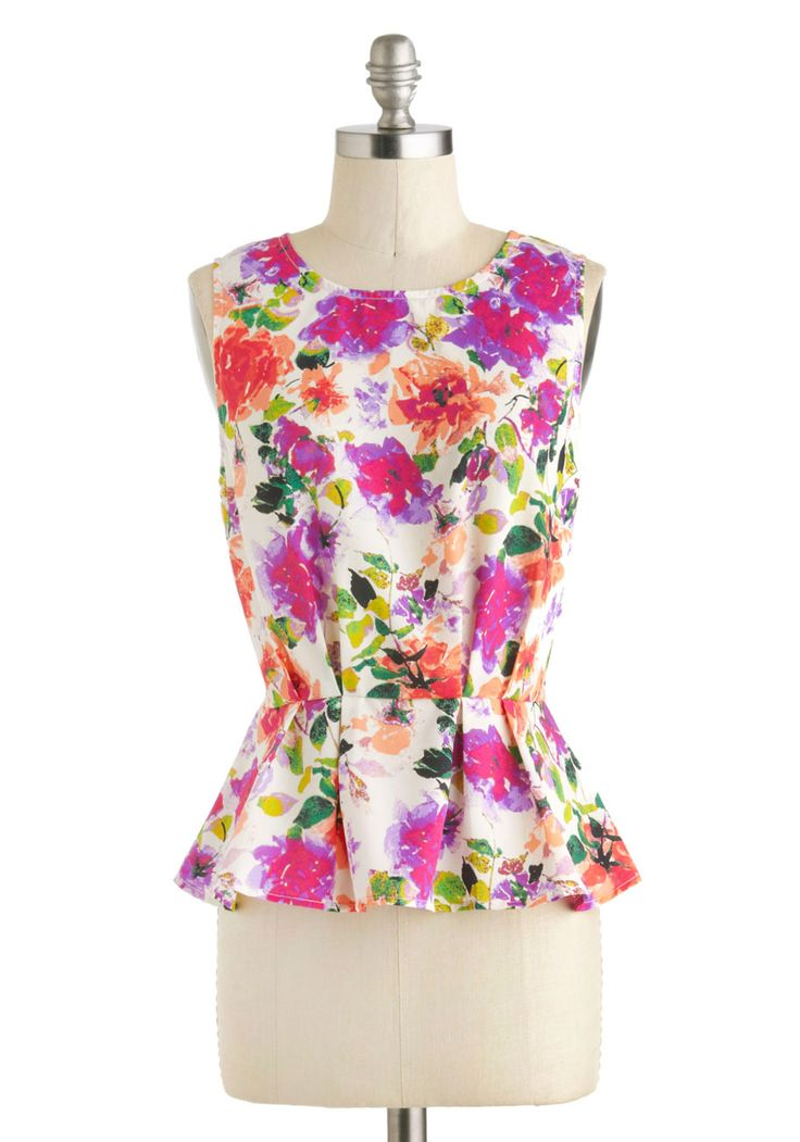 Office in the Sun Top - Sheer, Mid-length, Multi, Green, Purple, Pink, White, Floral, Peplum, Sleeveless, Work, Daytime Party