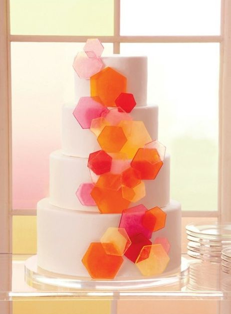 Love this with different geometric shapes and primary colors...maybe have the cake color be silver like the architecture.