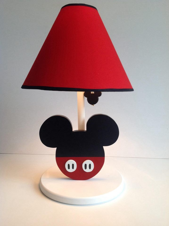 Country madera painting Mickey lamp