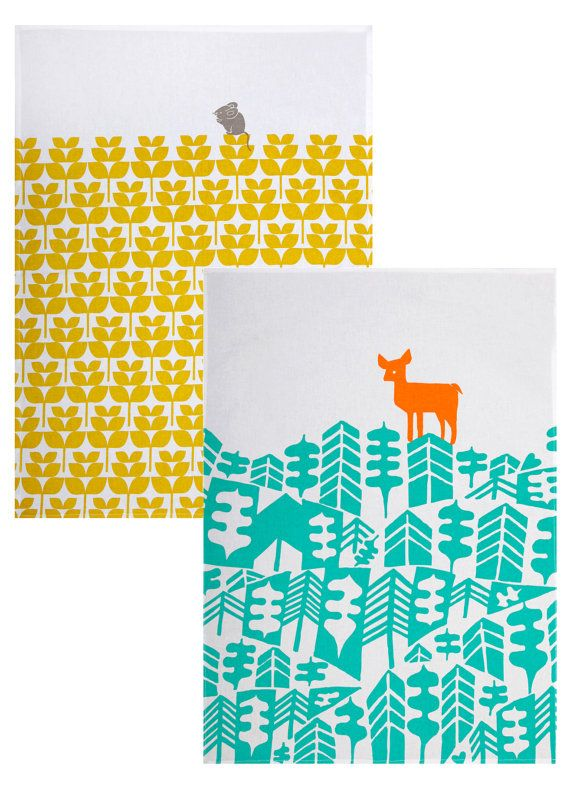 Abode collection  deer & mouse tea towel set by mengseldesign, $20.00