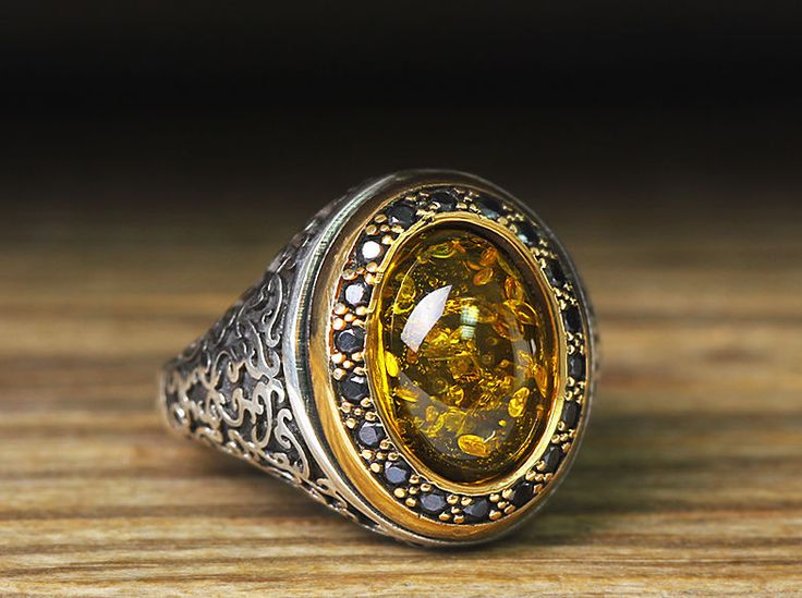 925 K Sterling Silver Man Ring Yellow Amber 10,75 US Size B23-65795   $33.85