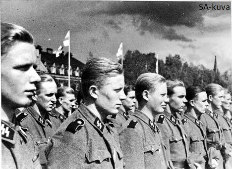 Finnish Volunteer Battalion of the Waffen-SS soldiers take part for the field Service of worship in Tampere after they have returned back to home, after 2 year of service on the German eastern front 1941-1943 Unit casualties where 255 men killed in action, 686 wounded and 14. The battalion was praised by many Waffen-SS commanders.