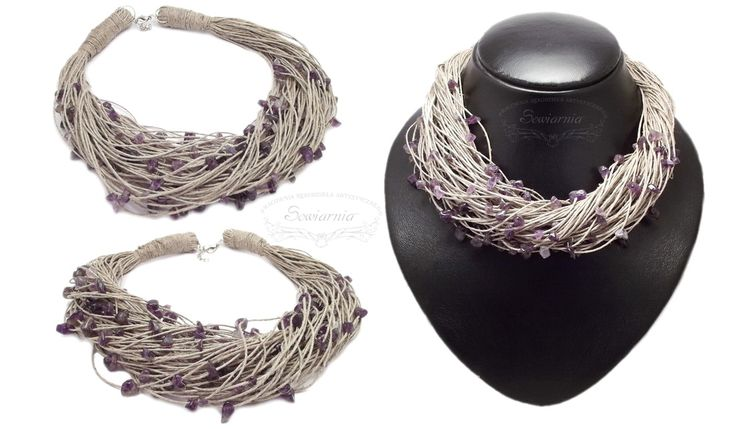 Linen necklace with amethyst