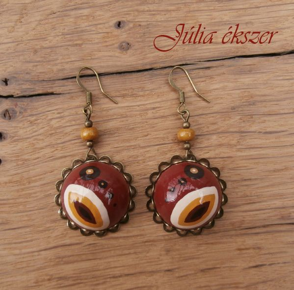 handpainted wood cabochon and bronze