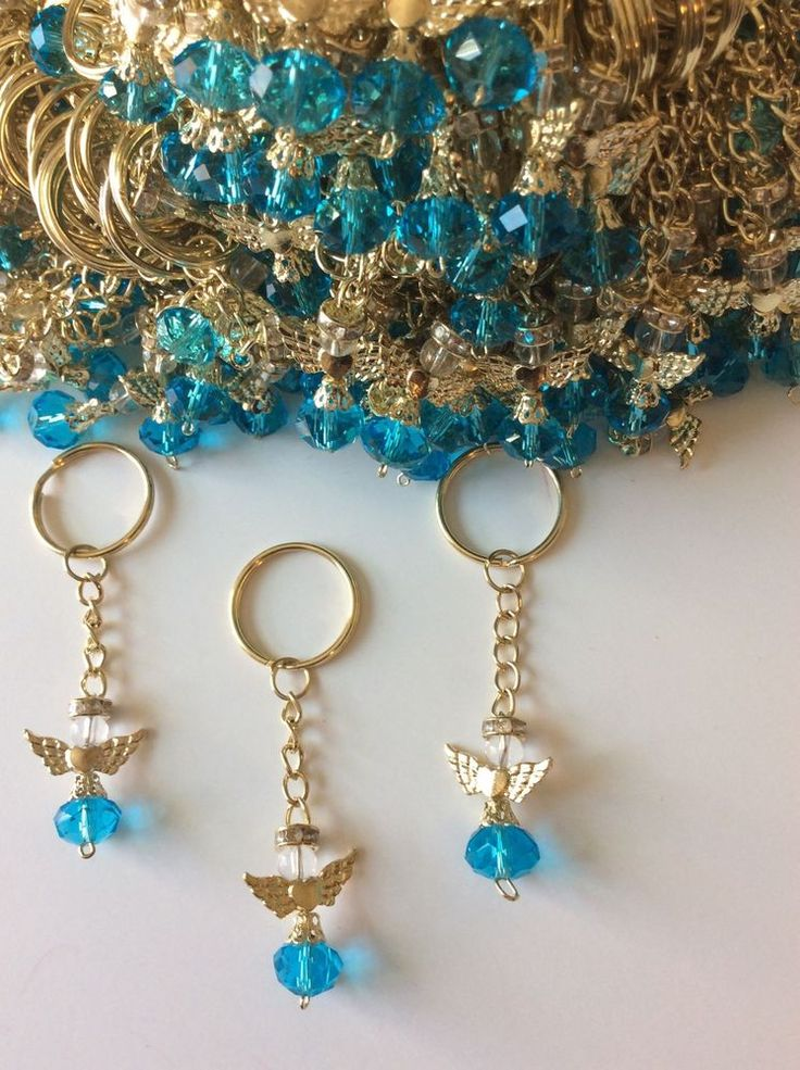 20 Teal Angel With Wings Keychain Rosary Baptism Communion Wedding Favors #baptismcommunionwedding