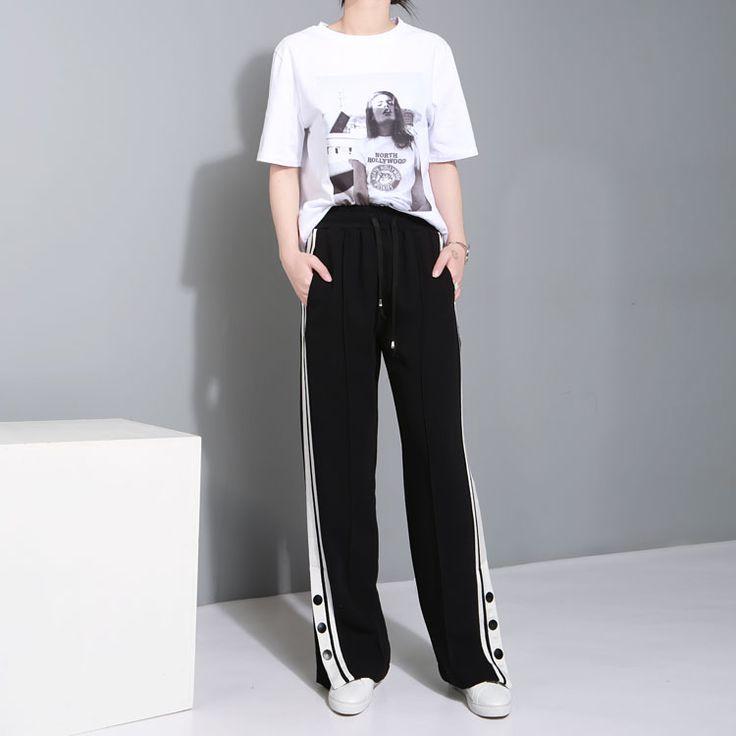 it.aliexpress.com store product TWOTWINSTYLE-Women-Wide-Leg-Pants-Elastic-Waist-Drawstring-Side-White-Striped-Slit-Button-Black-Sport 1604048_32799013457.html