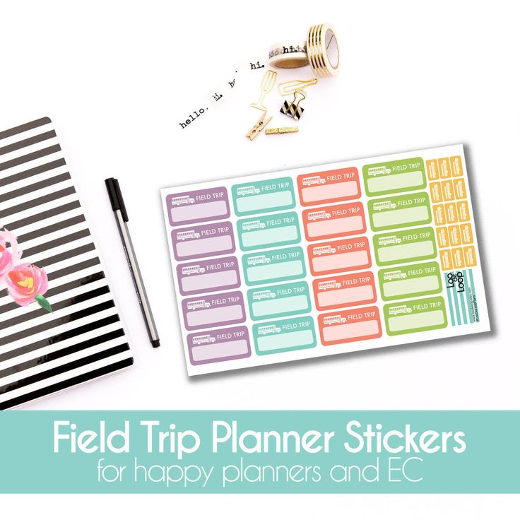 Field Trip School Bus Planner Stickers  - 35 stickers for MAMBI Happy Planners or Erin Condren Life Planner by LooDeLoop on Etsy