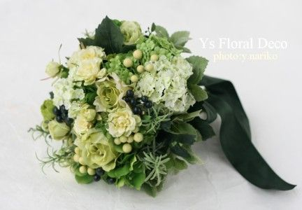 薄黄色と緑のグラデーションブーケ アーティフィシャルフラワー @モルジブ ys floral deco