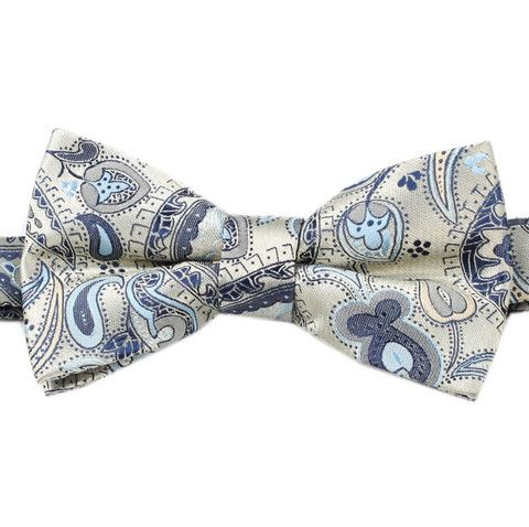 Paisley Silver Bow Tie with Light Blue | OTAA