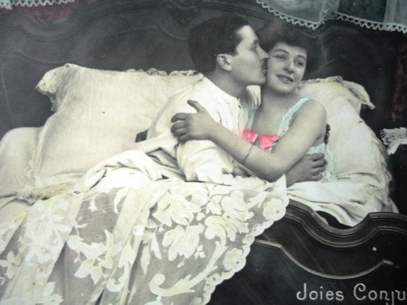 Romantic couple in bed  Antique french postcard by LizKnijnenburg, €3.75