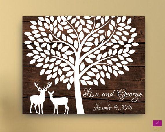 Wedding Guest book Alternative canvas Deer and tree wedding