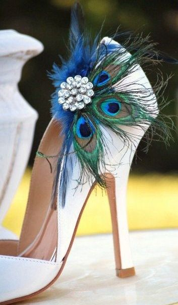 Peacock feather shoe-good for wedding or Clue costume