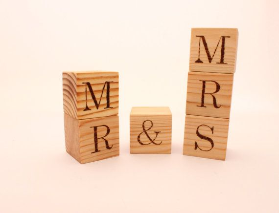 Personalized Wood Blocks. 15 in cube. Hand burned by WoofWoofWood