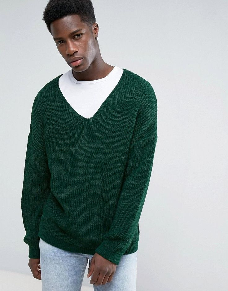 ASOS Slouchy V-Neck Sweater In Green - Green