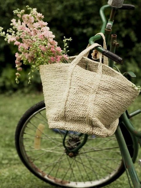 Bicycle bag with blooms-- so classically pretty