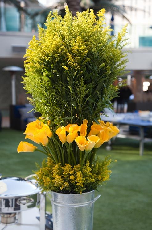 The golden yellow hue of these Calla lilies pops against the flowers' deep green stems.