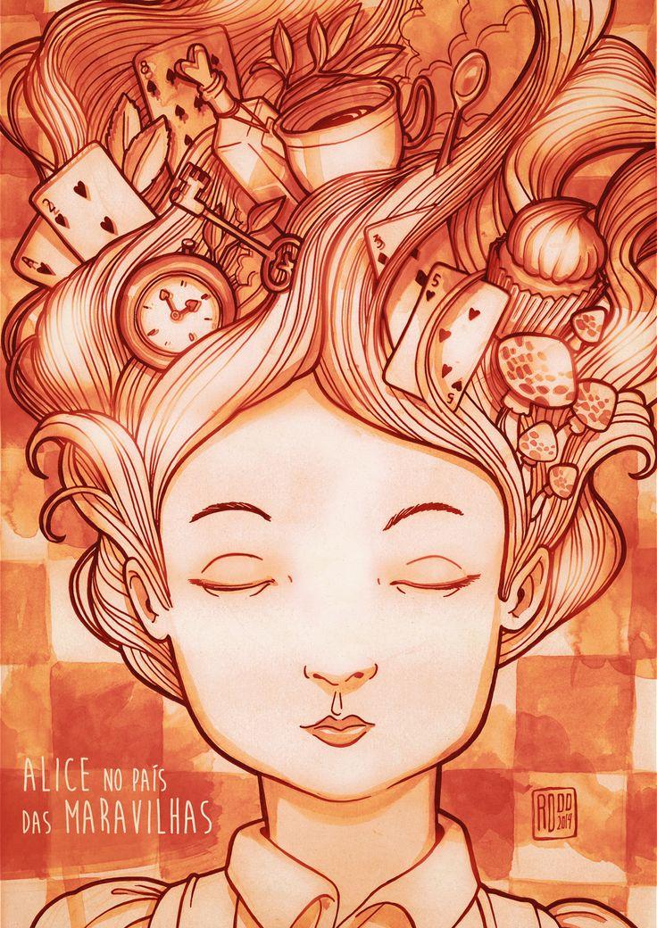 Alice in Wonderland - Projeto de ilustração para o segundo módulo da Pós-graduação em Ilustração, Infografia e Motion Graphics -  Anhembi Morumbi/SP sobre o livro Alice no país das maravilhas. Técnica: Nanquim e aquarela sobre papel + finalização digital.