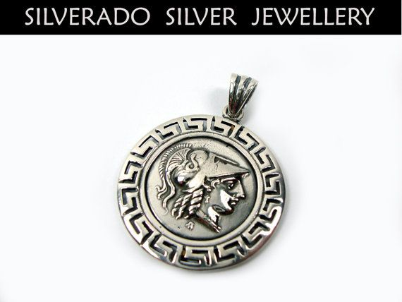 Sterling Silver 925 Ancient Greek Goddess Athena Solid Round Pendant 29 mm Greek Eternity Key , Greek Pendant , Greek Coin , Greek Jewelry on Etsy, 40,00 €
