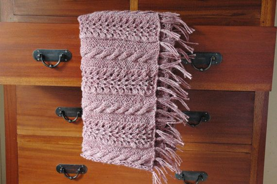Cable knit throw rug or shawl in wool blend