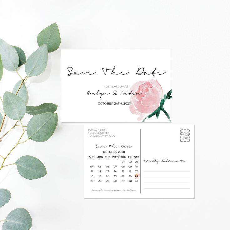 Printable Save The Date - Watercolor Floral Wedding Save The Date Card - Calligraphy Wedding Postcard - Watercolor Pink Wedding Set PDF by OnionSisterCreative on Etsy