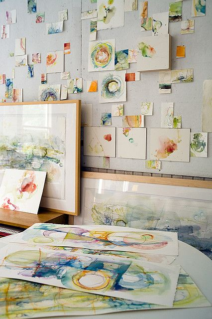 Wall of tiny Abstract Watercolors  Studio Photo by Paul Clancy house by Alyn Carlson