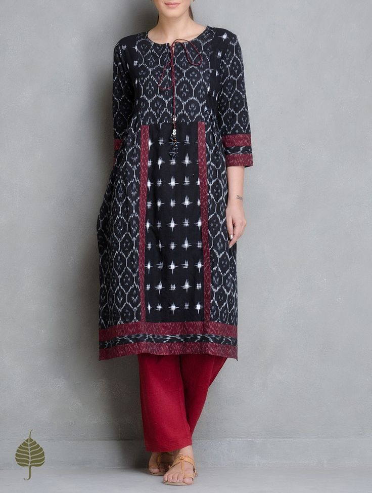 Buy Black Ivory Maroon Handloom Ikat Cotton Side Pleated Kurta by Jaypore Women Kurtas Enigma and Pants Online at Jaypore.com