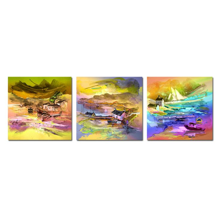 3PCS river Small village Small fishing boat Mountains Wall Vintage Oil Painting Prints on Canvas Landscape Pictures Home Decor