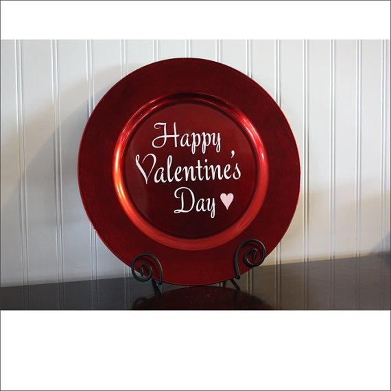 Valentine's Day  Decorative Charger Plate by CustomVinylByBridge, $7.00