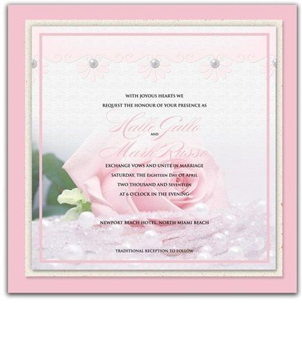 145 Square Wedding Invitations - Baby Pink n' Pearls by WeddingPaperMasters.com. $379.90. Now you can have it all! We have created, at incredible prices & outstanding quality, more than 300 gorgeous collections consisting of over 6000 beautiful pieces that are perfectly coordinated together to capture your vision without compromise. No more mixing and matching or having to compromise your look. We can provide you with one piece or an entire collection in a one stop shop...