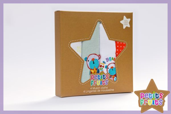 4 Muslin Cloths - Petits Fruits - Little Star!
