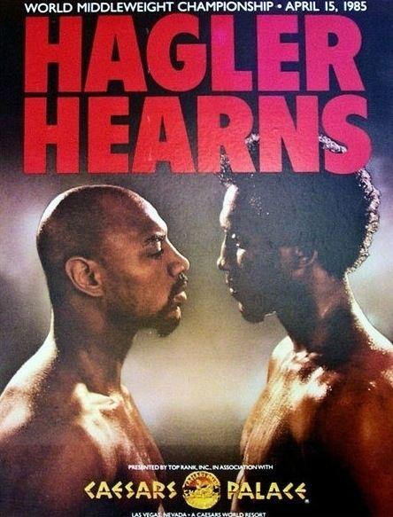 "Marvelous Marvin Hagler vs Thomas ""Hit Man"" Hearns - April 15, 1985 fight poster."