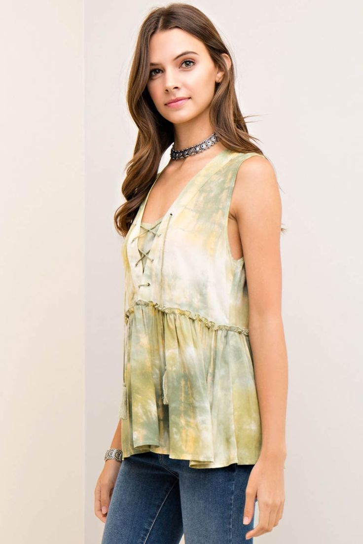 Acid Washed Lace-Up Tiered Top
