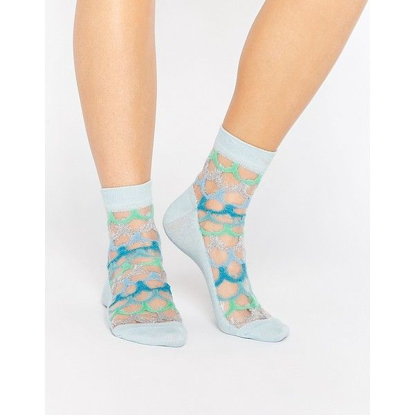 ASOS Mermaid Scale Sheer Socks (£2) ❤ liked on Polyvore featuring intimates, hosiery, socks, multi, sheer socks, ankle high socks, glitter socks, asos socks and glitter hosiery