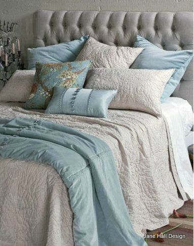 Traditional romantic bedroom in Silver Grey and Aqua Blue