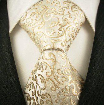 Ivory and Gold Tie - Neckties By Scott Allan, 100% Woven Khakii Floral Tie, Mens Designer Necktie